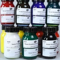 180991 Shellac Ink assortment. Kremer, 11 x 100ml glass jars